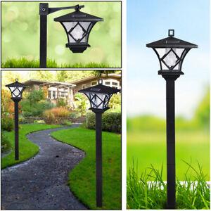"Solar Power Light Lamp Post Lantern Yard Stake Outdoor Garden Lighting 5"" 2 in 1"
