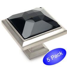 *5 Pack* Cosmas Satin Nickel & Black Glass Square Cabinet Knobs #5883SN-X