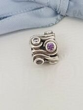 Authentic Pandora Purple Ocean Waves Charm 790369ACZ Retired Amethyst CZ