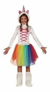 Girls Unicorn Rainbow Costume Tutu Mythical Princess Kids Fancy Dress Outfit