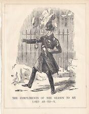 1854 Punch Cartoon  Lord Aberdeen Losing Public Opinion Snowball Crimean War