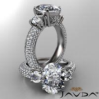 Oval Cut Diamond 3 Stone Antique Engagement Ring GIA G VS2 14k White Gold 3.8 ct