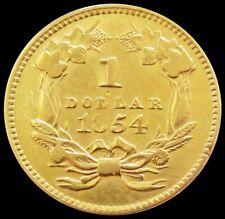 1854 GOLD TYPE 2 INDIAN PRINCESS $1 DOLLAR COIN AU