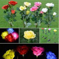 Solar Power Rose Flower Garden Stake landscape Lamp Outdoor Yard Lawn LED Light