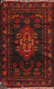 VINTAGE Geometric Traditional Oriental Area Rug Hand-knotted Wool Carpet 3x5 ft
