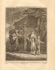 1770  ANTIQUE PRINT -BIBLE- SARAH SAID TH ABRAHAM CAST OUT THIS BOND WOMAN