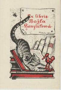Ex libris Art Deco with cat Exlibris  by LHOTA JOSEF (1895-1982) Czech