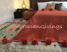 "Moroccan handwoven Pom Pom Blanket/100% natural Cotton/ 59""Wx98""L/ 150Wx250L."