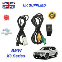 For BMW X3 USB Aux Switch & USB Wire 3.5mm AUX Cable Adapter 3CD 035 249 A