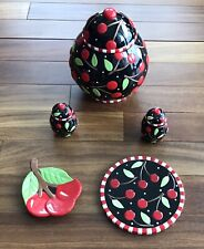 Mary Engelbreit Cherries Cookie Jar / Trivet / Spoon Rest / Salt Pepper Shakers