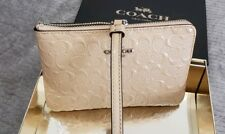 NWT Coach Patent Leather Signature Corner Zip Wallet/wristlet/Clutch Nude/Tan