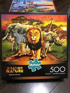 Amazing Nature Collection AFRICAN BEASTS 500 Piece Puzzle BUFFALO Poster NEW