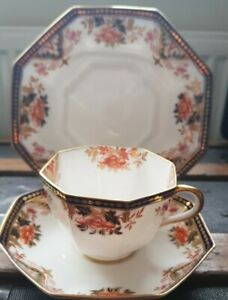 Victorian 1870s Wedgwood Imari Trio Octagonal Cup, Saucer & Plate Lovely Quality
