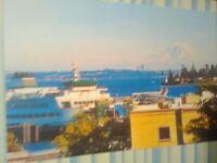 BEAUTIFUL POST CARD AERIAL VIEW PUGET SOUND FERRY KINGSTON WASHINGTON