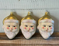 Lot 3 Vintage Blown Glass Santa Christmas Ornaments Gold & Glitter Colombia