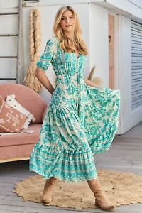 JAASE WOMEN'S TESSA MAXI DRESS OPAL GREEN TEAL AQUA FLORAL PRINT GENEROUS SIZING
