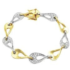 Cubic Zirconia Link Bracelet Sterling Silver Two-tone Finish White