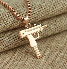 ROSE GOLD UZI MACHINE GUN PISTOL BOX CHAIN PENDANT NECKLACE RIFLE UK SELLER