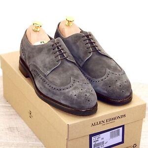 * NIB * $375 Allen Edmonds NOMAD Short Wing 9 D Grey Suede * new Trees Bags