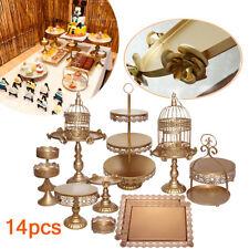 14 Pcs/Set Decor Glass Top Cake Stand Rack Round Iron Wedding Cupcake Tower USA