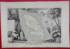 Carte MARTINIQUE  Atlas LEVASSEUR  Ed PELISSIER ill Raymond BONHEUR LAGUILLERMIE