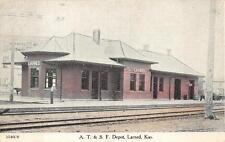 A.T. & S.F. TRAIN DEPOT LARNED KANSAS POSTCARD (c. 1908)