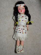 "ANTIQUE VINTAGE 7""  GOOD NATIVE AMERICAN INDIAN DOLL BEADED LEATHER CLOTHES"