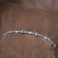 18k white gold gf made with SWAROVSKI crystal beaded chain slim tennis bracelet