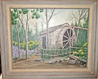 Vintage Original Framed Painting - Grist Mill Log Cabin Village Ft Worth, Texas