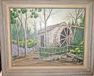 Vintage Original Framed Painting - Grist Mill Log Cabin Village Ft Worth, Texas