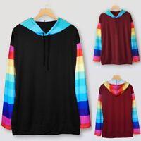 Women Casual Long Sleeve Rainbow Stripe Hooded Sweatshirt Pullover Blouse Tops