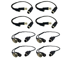 4 Male / 4 Female Swan Samsung Bnc to Din Cable Adapter Dvr Cctv 4-6 Pin (8 Pcs)