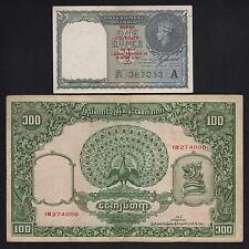BURMA  P-30,41. 1940 1 Rupee - Red o/print (aU-U) & 1953 100 Rupees (aVF)