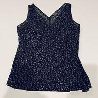 Ann Taylor Top Tank Black White Sz 4 Lined 100% Silk Sleeveless Blouse Shirt s3