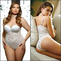 Ladies Sexy White Push Up Cup Lace Teddy Babydoll Lingerie 8 10 12 14 16 18 20