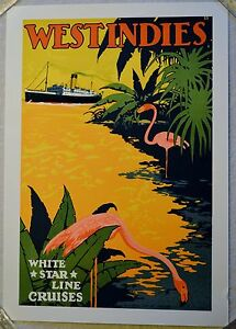 White Star Line Cruises West Indies Lithograph ofVintage Travel Poster Hand Pull