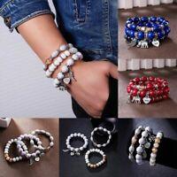 4Pcs Vintage Women Boho Multilayer Natural Stone Crystal Bangle Beaded Bracelets