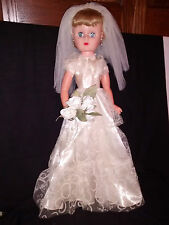 "Doll 25"" Hard Plastic Bride all original fully dressed with shoes No Marks 60's"