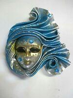 Campanula - Maschera veneziana artigianale in ceramica e cuoio