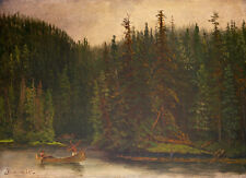 Indian Hunters in Canoe 75cm x 54.3cm by Albert Bierstadt Canvas Print