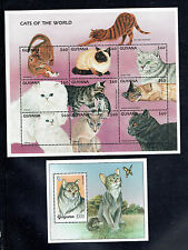GUYANA, 3217-3218, 1997 CATS, SHEET OF 9 AND S/S,  MNH (ID6788)