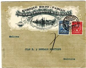 COLOMBIA - SCADTA - 20c STEAMBOAT PICTURED COVER - CARTAGENA to MEDELLIN - 1929