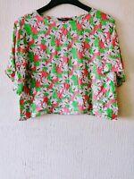 Golddigga Ladies Short Sleeve Floral Print Crop Top T-shirt Pink Size 14
