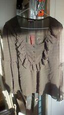 Biba - Beautiful floaty green frilled long sleeved blouse UK 14