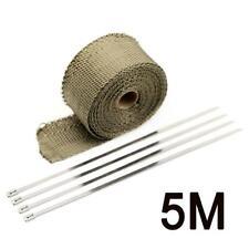 5m Titanium Heat Wrap Exhaust Manifold Insulating Tape+4 Cable Ties 30cm