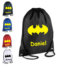 Batman Personalised Drawstring Bag backpack supermanSchool Gym PE Kit Sport Kids