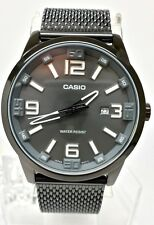 Casio MTP1351CD-8A1 Mens Dark Stainless Steel Mesh Band Modern Dress Watch NEW