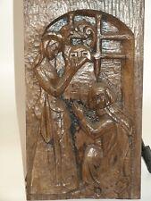 Grand bas relief bois sculpté sacre d'un chevalier