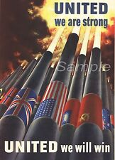 VINTAGE UNITED WE ARE STRONG WAR POSTER A3 PRINT