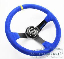 Universal 350mm Suede Deep Dish Steering Wheel Fits  SPARC  BOSS KIT bule